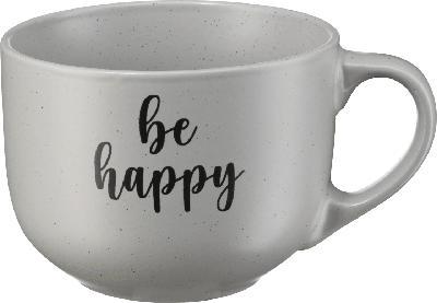Dekorieren & Einrichten Kaffeebecher Jumbo 'be happy' grau