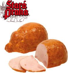 Glücksferkel-Formfleisch, aus Fleischstücken zusammengefügt, gepökelt, gegart, mit Raucharoma verfeinert