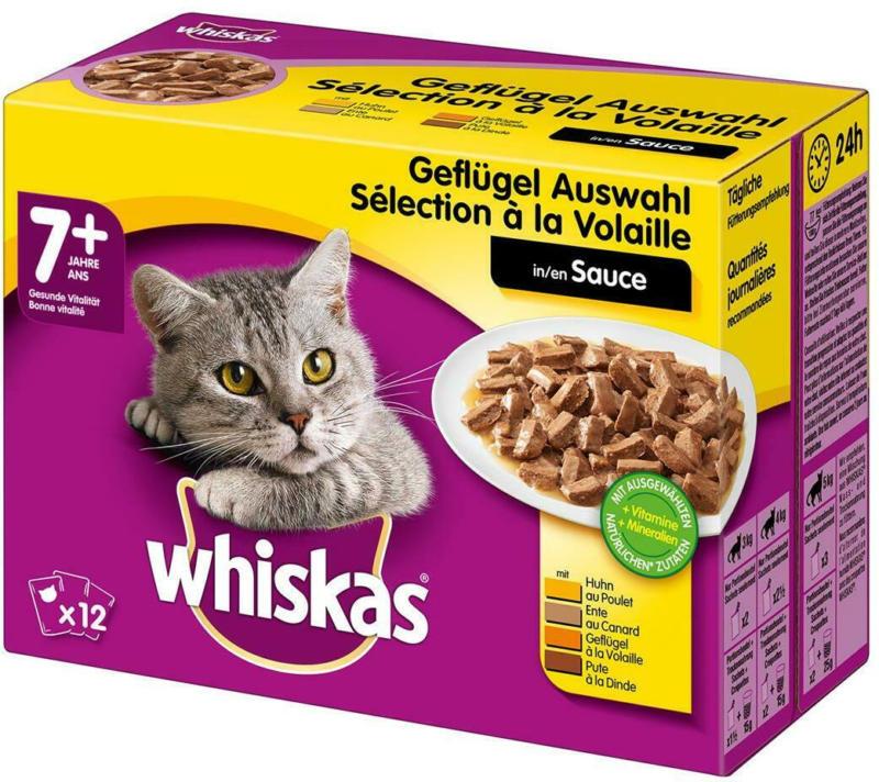 Whiskas Frischebeutel 12-Pack Geflügel Auswahl in Sauce 7+