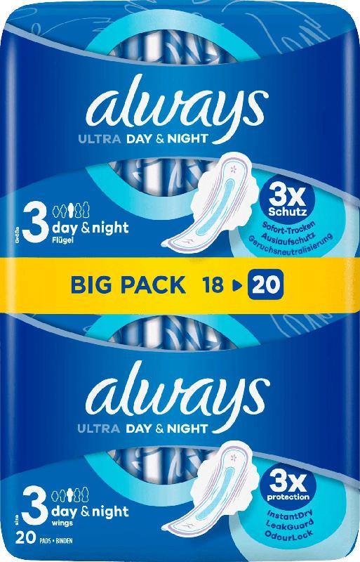 always Damenbinden Ultra Tag&Nacht mit Flügeln BigPack