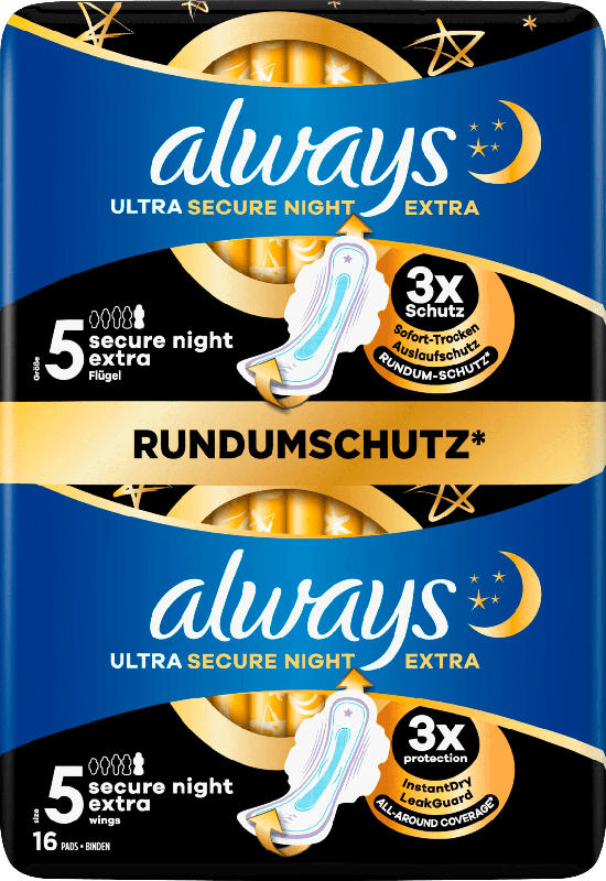 always Damenbinden Ultra Secure Night Extra 5 mit Flügeln BigPack