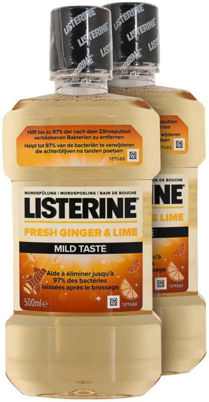 Listerine Bain de bouche Gingembre & Citron Vert saveur douce 2 x 500 ml -
