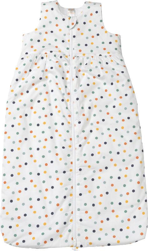 PUSBLU Kinder Schlafsack 2 TOG, 110 cm, mit Bio-Baumwolle, weiß, bunt