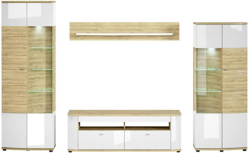 Wohnwand 320/200/46,4 cm in Weiß, Eichefarben