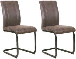 Stuhl-Set in Metall, Textil Dunkelbraun