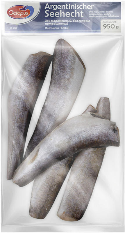 Argentinischer Seehecht (Merluccius gayi peruanus) ohne Kopf tiefgefroren.