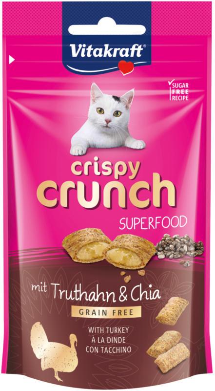 Vitakraft Snack pour chat Crispy Crunch Dinde & Chia 60g