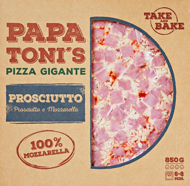 Pizza gigante Prosciutto e Mozzarella Papa Toni's, 850 g