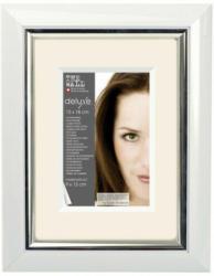 Bilderrahmen Kunststoff ca. 13x18cm weiß metallic silber