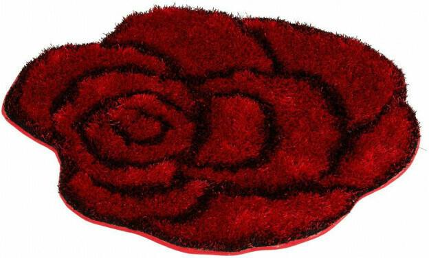 Teppich 3D Rose ca. 80 cm rund rot