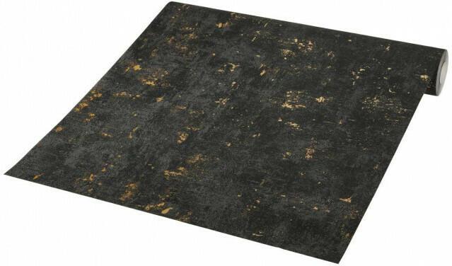 Vliestapete schwarz in Betonoptik mit Goldeffekt