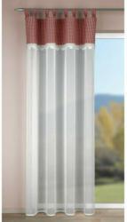 Kombivorhang Palma weiß Karo-Besatz rot ca. 135 x 245 cm