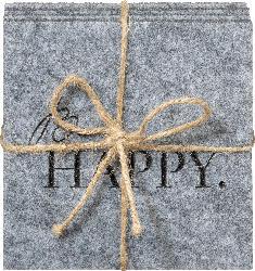 Dekorieren & Einrichten Filzuntersetzer 'Be happy'