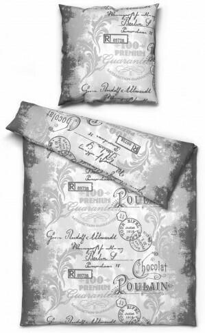 Baumwoll Bettwäsche Vintage grau 135 x 200 cm