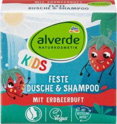 alverde NATURKOSMETIK Kids Feste Dusche & Shampoo mit Erdbeerduft
