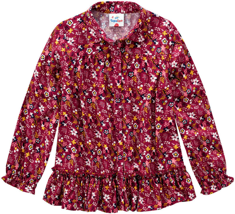 Mädchen Bluse mit Blumen-Print