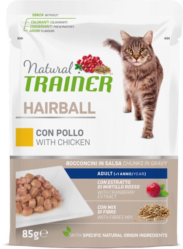 Trainer Natural Nourriture humide Hairball Adult Poulet 85g sachet