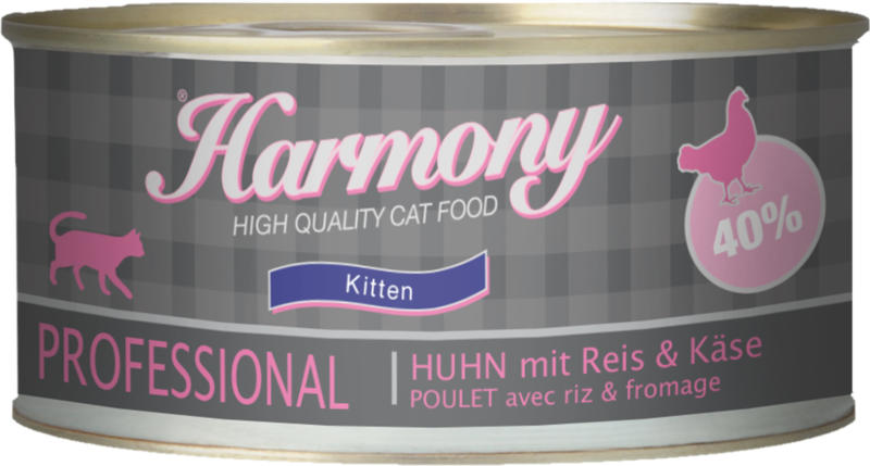 Harmony Cat Professional Nassfutter Kitten Poulet, Riz & Fromage 24x75g
