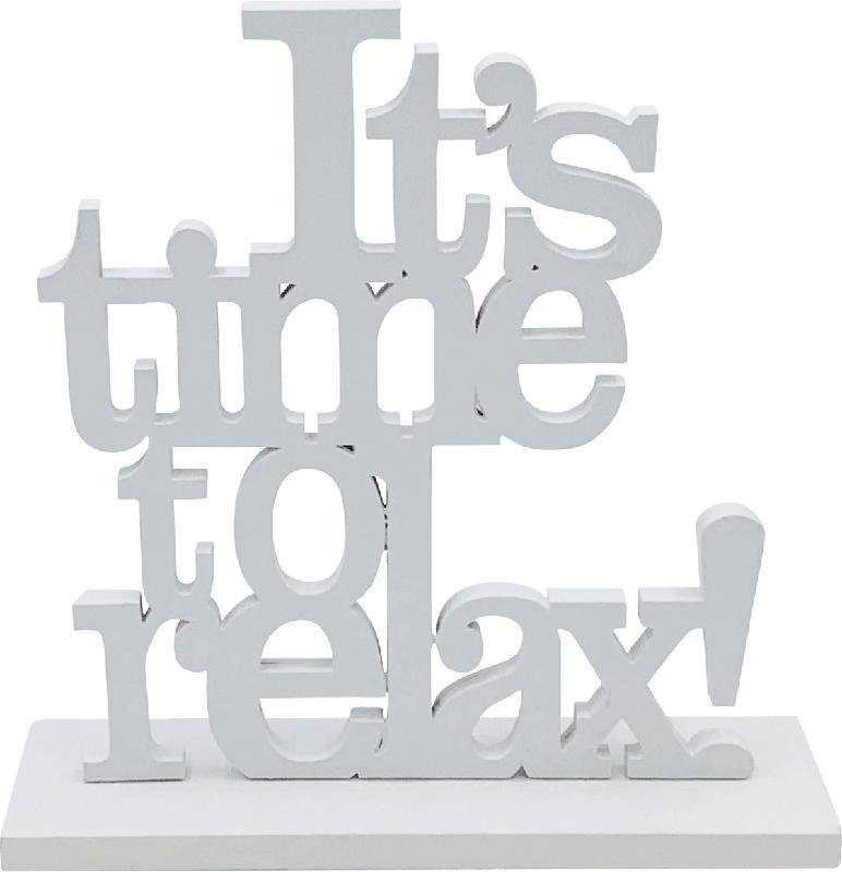"""Dekorieren & Einrichten Holzschriftzug """"It`s time to relax"""" weiß"""