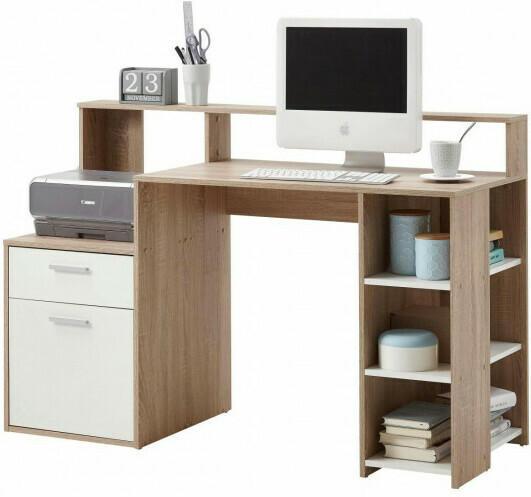 Schreibtisch Sonoma-Eiche-Nachbildung/weiß