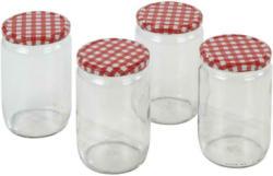 Einmachgläser 4er-Set Xenia Je 720 ml, Rot/Weiß