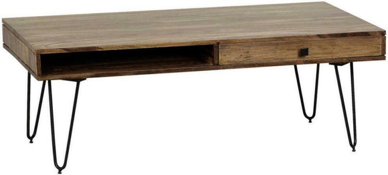 Couchtisch Holz mit Stauraum Bagli, Sheesham/Schwarz