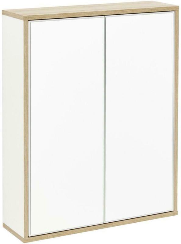 Spiegelschrank Push-To-Open Finn B: 60cm Weiß+eiche Dekor