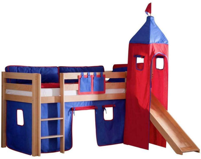 Spielbett Alex Buche Massiv 90 cm mit Turm + Rutsche