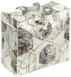 Möbelix Einkaufstasche Faltbar Geo Weiß/Grau/Gold