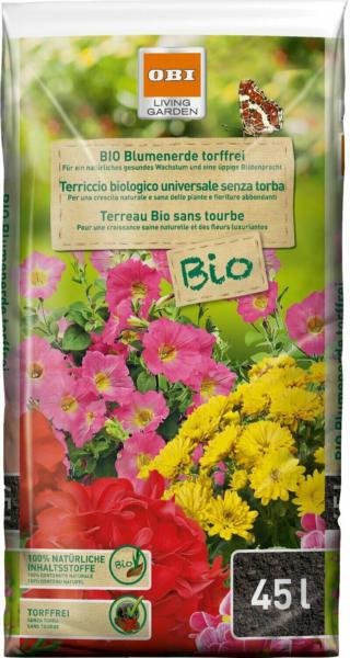OBI Bio Blumenerde torffrei 1 x 45 l
