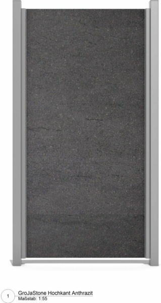 GroJa Stonefence Keramik-Sichtschutzzaun 120 cm x 180 cm Anthrazit