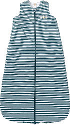PUSBLU Kinder Schlafsack 2 TOG, 100 cm, in Bio-Baumwolle, weiß, blau