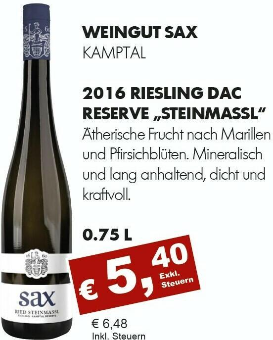 2016 Riesling DAC Reserve Steinmassl, Sax, Kamptal