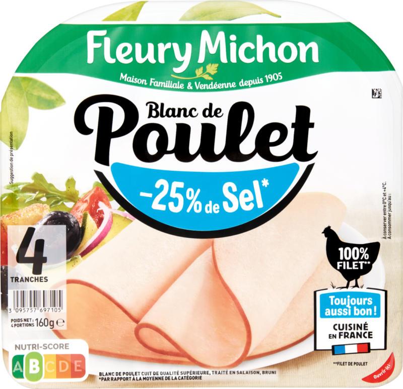 Duo Blanc de poulet Fleury Michon, -25% de sel, France, 2 x 160 g