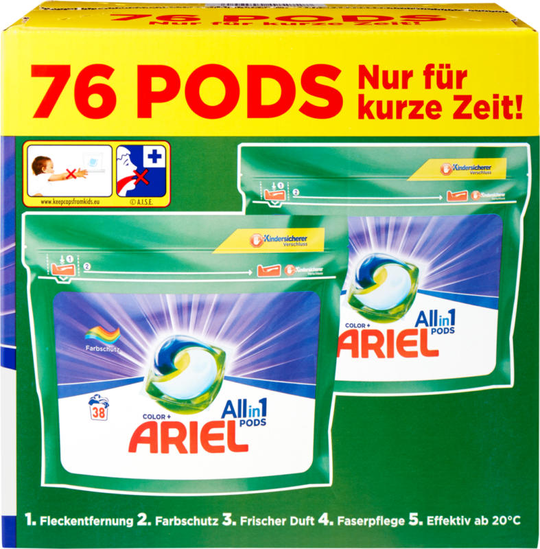 Ariel Color All in 1 pods , 2 x 38 pods