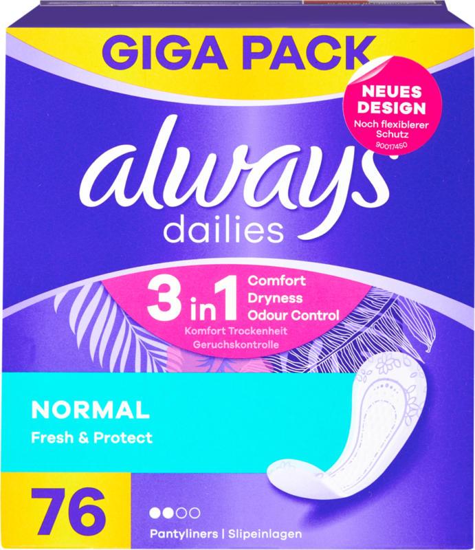 Always Slipeinlagen Fresh & Protect, Normal, 76 Stück
