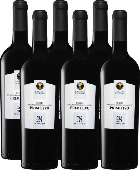 Due Palme Sedotto Primitivo di Puglia IGP, 2020, les Pouilles, Italie, 6 x 75 cl
