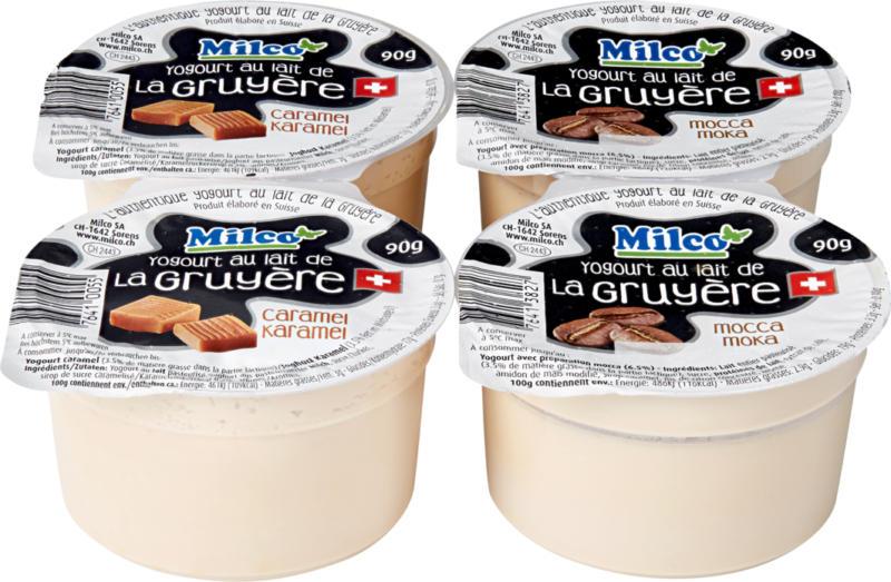 Joghurt au lait de Gruyère Milco, assortis: Caramel et moka, 4 x 90 g