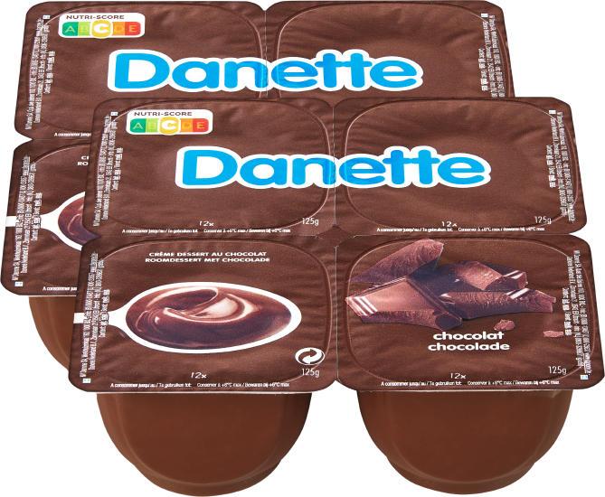 Crème Danette, Chocolat, 8 x 125 g
