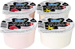 Yogourt au lait de la Gruyère Milco, assortiti: vaniglia e lamponi , 4 x 90 g