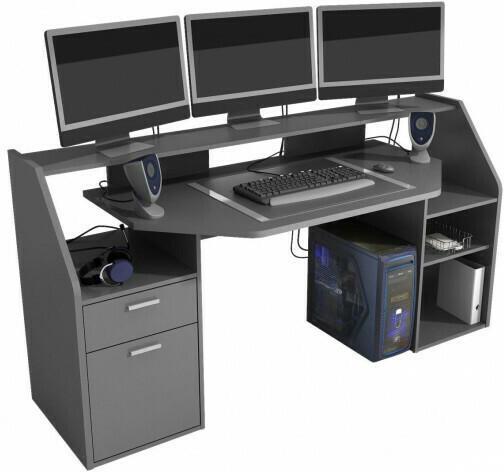 Gaming-Schreibtisch Anthrazit, ca. 180 x 92,50 x 67,50 cm