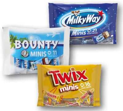 BOUNTY, TWIX, MARS, MILKY WAY, SNICKERS MINIS 333G