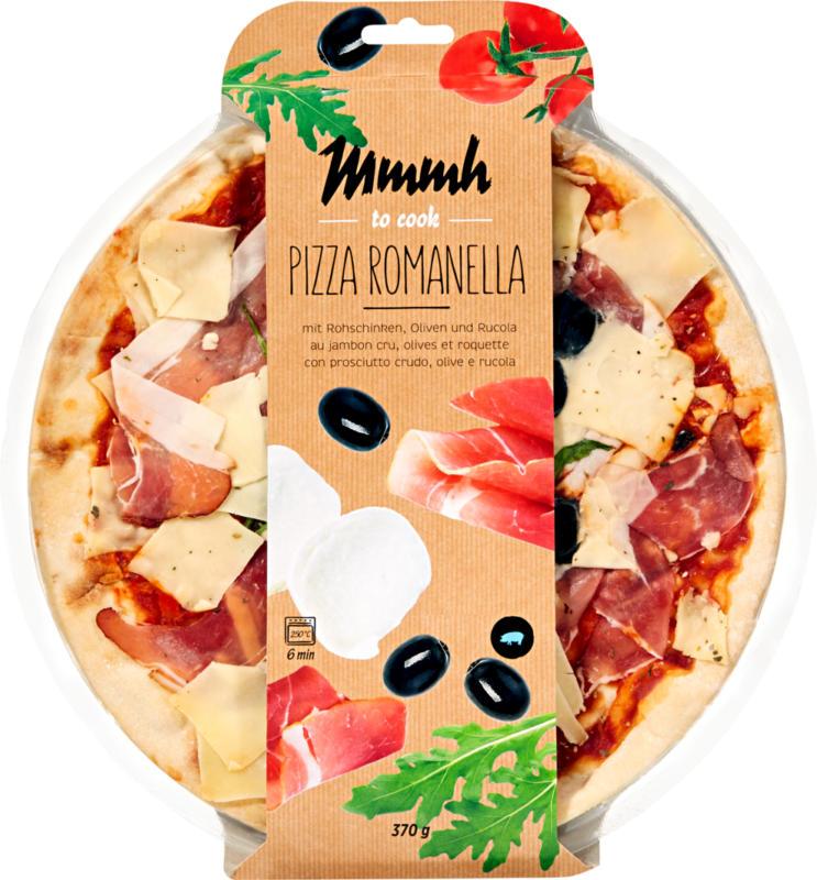 Pizza Romanella Mmmh , con prosciutto crudo, olive e rucola, 370 g
