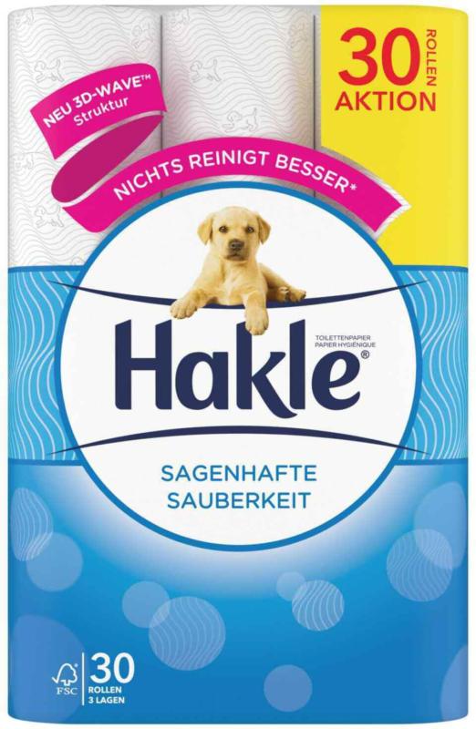 Hakle Toilettenpapier 3-lagig Klassische Sauberkeit 30 Rollen -