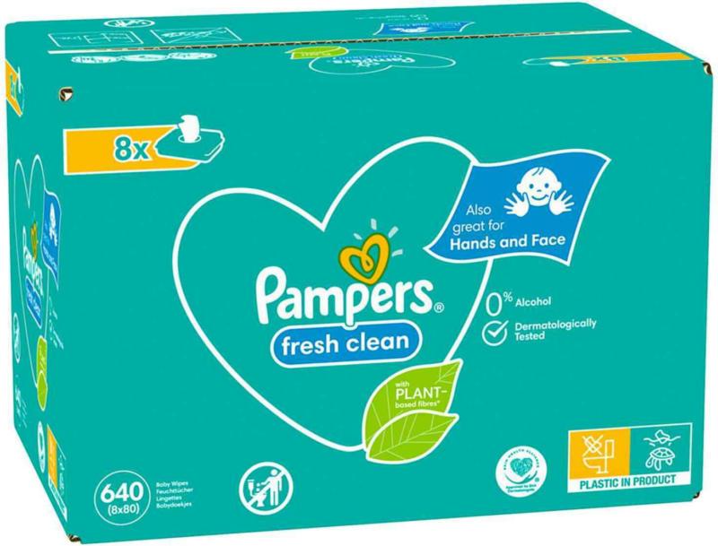 Pampers lingettes humides Fresh Clean XXL 8 x 80 Stück -