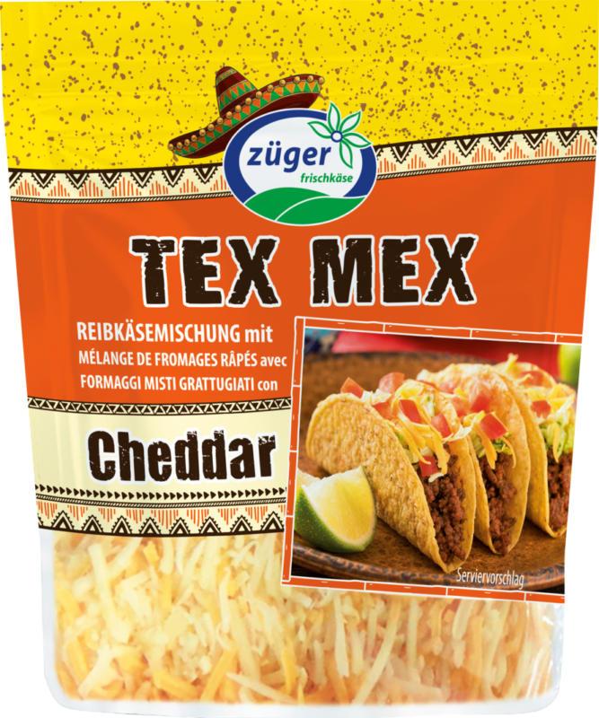 Formaggi misti grattugiati Cheddar Tex Mex Züger, 2 x 250 g