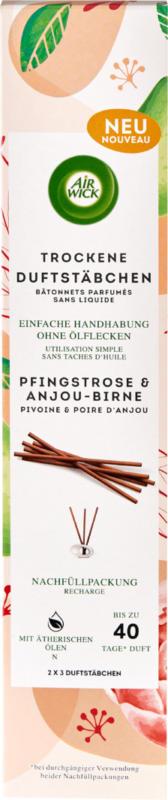 Ricarica di bastoncini profumati secchi Air Wick, Peonia & Pera Anjou, 2 x 3 pezzi