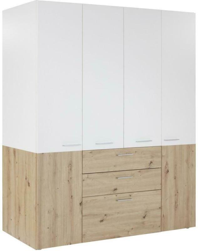 Kleiderschrank mit Laden 163cm Duo, Weiß/Eiche Dekor