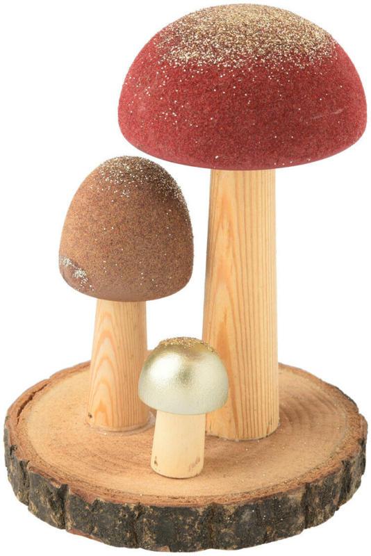 Deko-Figur Pilze mit Holzscheibe (Nur online)
