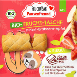 FruchtBar Kindersnack Pausenfreund Frucht-Tasche, Dinkel, Erdbeere, Apfel ab 3 Jahren 6x22g